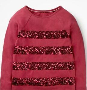 Mini Boden Girl's Sequin Stripe T-shirt, Red