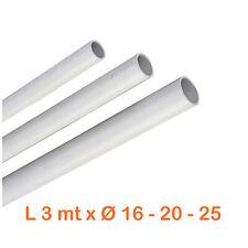 Tubo rigido impianti elettrici plastica pvc Ø 16-20-25 x 3 ml tubi infilaggio