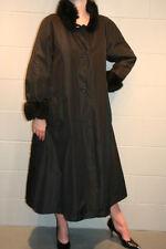 S~M BLACK BONNIE CASHIN VTG 70s STROLLER COAT FUR COLLAR CUFFS WEATHER OUTERWEAR