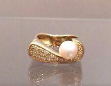 MASSIV Ring mit Perle u. Brillanten 0,19 ct. 14 K/585er Gelbgold Gr. 55 TOP