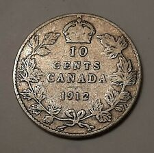 """1912 Canada 10 Cents (92.5% Silver) - King George V     """"STERLING SILVER"""""""