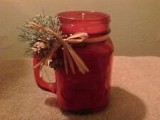 Handmade Red Cinnamon Scented Candle in Red Jar Mug. Christmas Gift