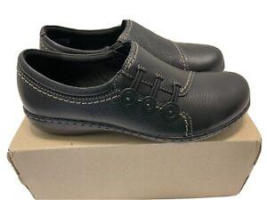 Clarks  Womens Black Ashland Effie Flats Leather - 7.5 Wide