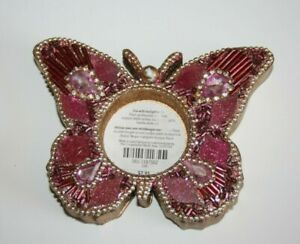 Pier 1 Beaded & Jeweled Rhinestons TEA LIGHT Candle Holders Pink Butterfly New