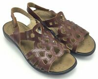 Romika Sz 6.5 Womens Sandals Brown Leather EU 37 Hook and Loop Slingback