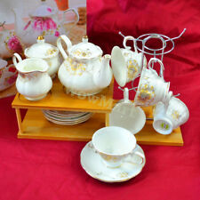 New Pottery Porcelain 15pc Ceramic Coffee English Tea Pot Cup Stand Set B