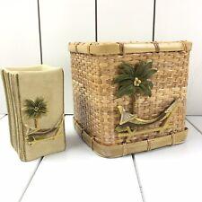 CROSCILL RARE Ladera Tumbler & Tissue Cover Rattan Wicker Palm Tropical Beach