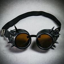 Steampunk Spikes Goggles Victorian Welding Cyber Gothic Costume Dark Len Black