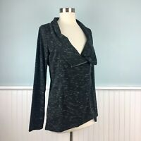 Size Medium M INC Womens Gray Knit Asymmetrical Zip Moto Jacket Cardigan Sweater