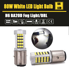 2x 80W BA20D H6 LED Motorcycle Bike Fog Light DRL Bulb White Bike Moped Scooter
