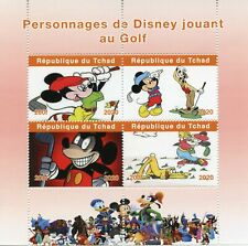 Chad Disney Stamps 2020 MNH Golf Mickey Mouse Goofy Pluto Cartoons 4v M/S