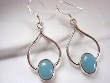 Chalcedony 925 Sterling Silver Dangle Drop Earrings Oval on Heart Shape t116-9