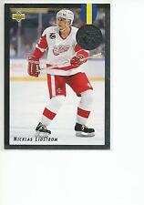 NICKLAS LIDSTROM 1992-93 Upper Deck Hockey EURO STARS card #E9 Detroit Red Wings