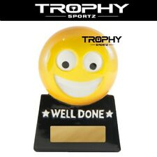 1 x EMOJI WELL DONE Trophy 87mm yellow m&m family novelty champion  games night