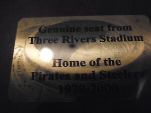 THREE RIVERS   Stadium seat PLAQUE HOME OF THE STEELERS AND PIRATES