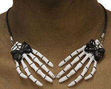 Bone Collection Skeleton Hands Choker Necklace with Bows