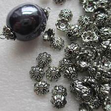 100 Cuentas Tapas Grande Flor Con Estampado De Acrílico De Plata Tibetana, como la fabricación de joyas