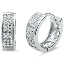MicroPave CZ Round .925 Sterling Silver Hoop Earrings