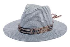 Jazz Hat Vintage Straw Sun Hat Unisex Wide Brim Boater Panama Hat West Cowboy
