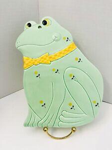 "VTG Otagiri Handcrafted Green Frog Flower Ceramic 9"" Trivet Hanging Wall Decor"