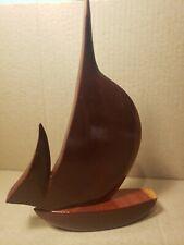 "Carved Barbados Genuine Mahogany Sail Boat Figurine 8 1/2"""
