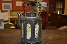 Antique 19th century Chinese metal /pewter teapot, hand painted panels, c1820