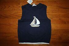 Nwt Janie and Jack Spring Splendor Size 6 Navy Blue Sailboat Sweater Vest
