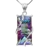 925 Silver Mystic Rainbow Topaz Square Pendant Chain Chocker Necklace Party Prom