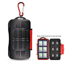 Water-Resistant 12 SD SDHC SDXC + 12 Micro SD Memory Card Case Holder Storage