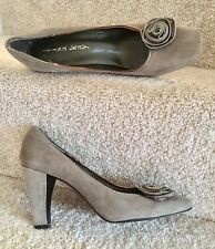 Stunning Lisa Kay Court Shoes UK 6 Women's 100% Grey Soft Leather Zip Edge Trim