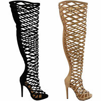 NEW LADIES WOMENS STILETTO HIGH HEEL THIGH HIGH OVER KNEE CUT OUT BOOTS SIZE ZIP