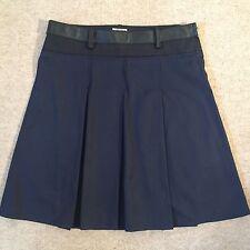 MIU MIU navy cotton  leather pleated knee length skirt Eur 29 / UK 11 Immac £595