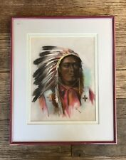 STUNNING ORIGINAL SIGNED PASTEL DRAWING NATIVE AMERICAN INDIAN CHIEF