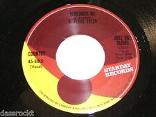 """7"""" - T. Texas Tyler / Remember me & Deck of Cards - JUKE BOX STARDAY # 2764"""