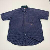 Vintage Tommy Hilfiger Button Up Shirt Mens XL Blue Short Sleeve Checkered