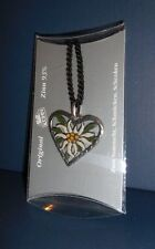 KUEHN Hand Painted Pewter HEART NECKLACE EDELWEISS
