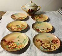 OAG ROYAL AUSTRIA HAND PAINTED COVERED SUGAR BOWL + 6 MATCHING SAUCERS ORANGE