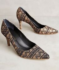 NEW Anthropologie Rarity Heels Size 9 Navy/Gold