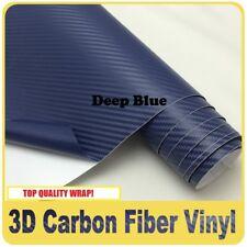 3D BLUE Carbon Fibre Fiber Vinyl Car Wrap NO CREASE 30cm x 1.27M Fiber
