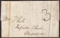 1822 PRE-STAMP PART ENTIRE LONDON TO ENFIELD CHASE, MIDDLESEX, HANDSTRUCK '3'