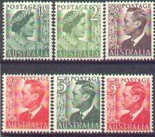 Australia 1950 KING GEORGE VI HEADS + QUEEN MOTHER (6) Unhinged Mint SG 234-237b