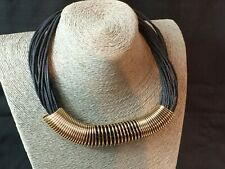 Statement Necklace Gold Tone Chunky On Multi Strand Cord Retro Collar