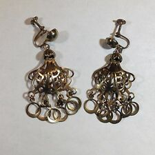 Vintage Rose Gold Tone Hoop Filigree Chain Link Earrings Screw Back