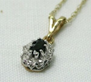 Lovely 9 carat Gold Sapphire And Diamond Pendant And Chain