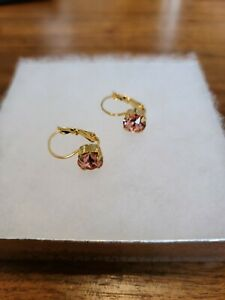 Swarovski Elements Leverback Earrings Pink Stone Gold Color