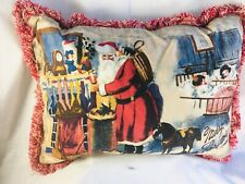 "Santa by the hearth, Merry Christmas NWT 19"" X 14"" square decorative down pillow"
