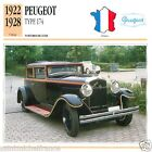 PEUGEOT TYPE 174 1922 1928 CAR VOITURE FRANCE CARTE CARD FICHE