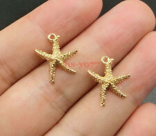 20 Starfish Charms Beach Sea Seashore Charms Gold Plated Tone 14x16mm 0263