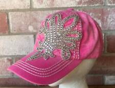 NWT Olive & Pique Quilted Front Hot Pink Rhinestone Fleur de Lis Baseball Hat