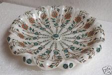"12"" Marble Inlay Fruit Bowl Carnelian Malachite Inlay Floral Art Decorative Gift"